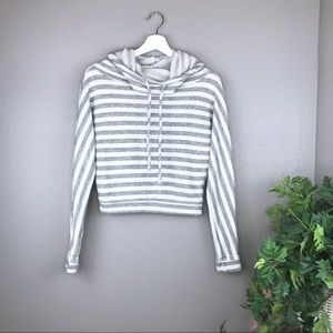 Joe's Jeans Striped Cowl Neck Cropped Hoodie